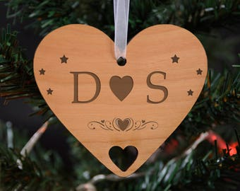 Heart Wooden Personalised Christmas Hanging Decoration
