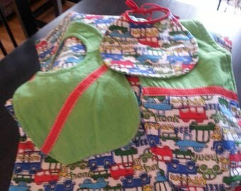 Set of blanket for baby, 100% cotton prewashed. 4 pieces: blanket, 2 bibs for baby, 1 baby bib for MOM