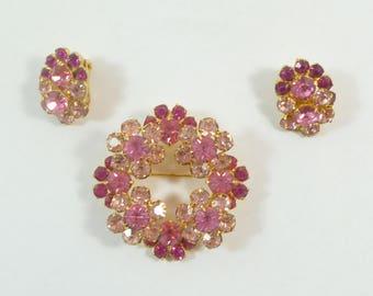 Vintage Eisenberg Ice Pink Rhinestone Brooch & Earring Set
