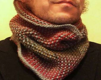 Grey and rainbow cowl, scarf