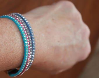Crystal Studded leather bracelet