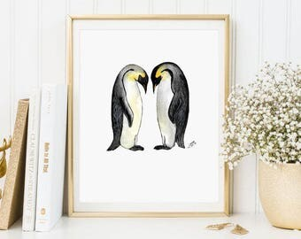 Illustration penguins, animals, penguins, watercolour, watercolor, prints, watercolour prints, animal prints A4, A5, A6