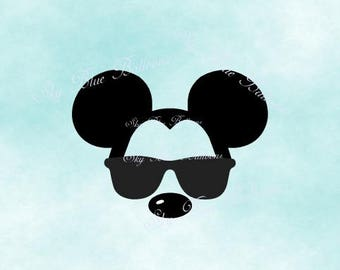 Mickey Sunglasses SVG, Mickey Trip Svg, Mickey with Sunglasses Svg, Disney ears SVG, Mouse Svg, Vinyl Cutting File, Cricut, Disney Dxf