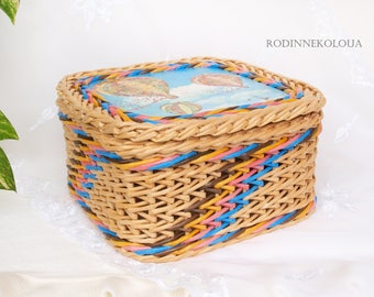 Air balloons decor Wicker basket box of paper with lid multicolored handmade square Air balloons on sky Jewellery box Trinket box Memory box