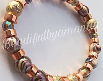 Adult bracelet Childs bracelet Brown gold and copper bead bracelet  ideal for birthdays or Christmas  gifts