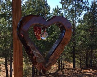 Wooden Heart Suncatcher