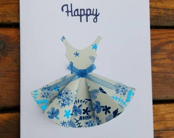 Handmade cards, Pack of 4 birthday cards - dress design, handmade.