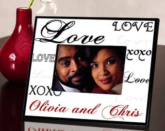 Personalized Simply Love Picture Frame - Wedding Photo Frames - Anniversary Picture Frames - Valentine's Day Frames - Love Photo Frames