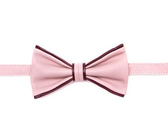 Dare Pink Leather Bow Tie