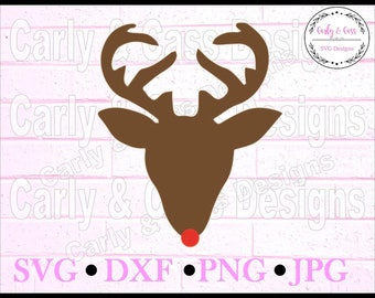 Deer Head, Rudolph, SVG, Christmas SVG, digital file, cut file, cricut svg, sillouette svg, holiday svg, christmas svg, Deer head svg