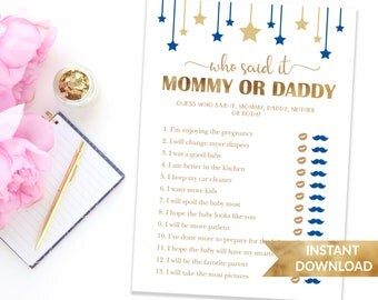 Navy blue Who said it baby shower game | Guess who said it Mom or Dad | Printable shower game | Baby boy shower game Mommy vs Daddy trivia