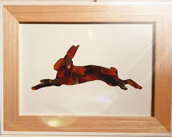 Leaping Hare Frame Pheasant Feathers