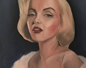Marilyn Monroe, Oil on Canvas, 30x24 inches - Diamonds are a Girl's Best Friend