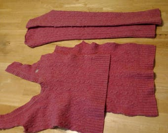 Heather Pink Felted Lauren Sweater Remnants for Sewing/Crafts