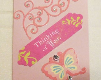 Handmade Greeting Card,  Pink Friendship Card, All Occasion Card, Thinking of You Pink Greeting Card, Made in the USA, #2