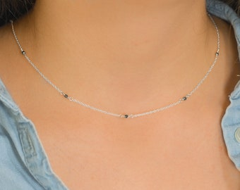 Minimalist Necklace Tender Necklace Delicate Airy Sterling Necklace Charming Necklace Thin Chain Necklace Layering Necklace Short Necklace