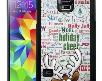 Christmas Rubber Case For Samsung Note 3, Note 4, Note 5, or Note 8- Rudolph Deer Text Typography