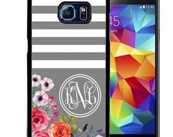 Monogrammed Rubber Case For Samsung S5, S6, S6 edge, S6 Edge Plus, S7, S7 Edge,  8, 8 plus - Gray Stripes Flowers