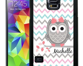 Personalize Rubber Case For Samsung Note 3, Note 4, Note 5, or Note 8- Gray Owl Pastel Chevron