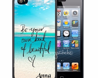 Personalized Rubber Case For iPhone X, 8, 8 plus, 7, 7 plus, 6s, 6s plus, 5, 5s, 5c, SE - Be Beautiful Beach
