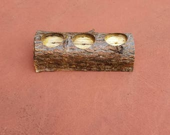 Log tea light candle holder, Rustic Decor, Perfect for gift, wedding