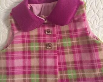 Pink plaid vest