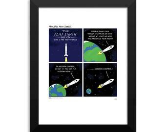 Flat Earth Comic Signed 5x7 Art Print