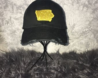 Black distressed glitter Iowa hat