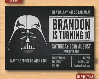 Star Wars Darth Vader 5x7 inch pdf invite, invitations, birthday party, downloadable self-editable
