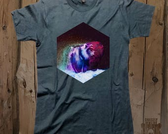 Galaxy bear shirt etsy waterfall multicolor nature bear galaxy graphic design unisex t shirt by grizzly where publicscrutiny Image collections