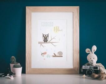 "OWL poster / / Scandinavian style, ""Hello World"" series"