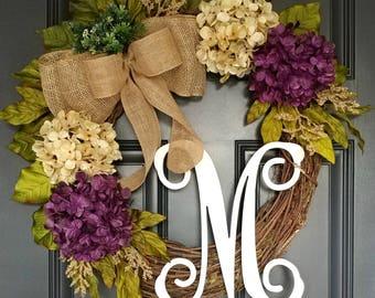 Front Door Wreath,Purple Hydrangea Wreath,Year Round Wreath,Cream Neutral Wreath,Grapevine Wreath,Burlap Wreath,Farmhouse Grapevine Wreath