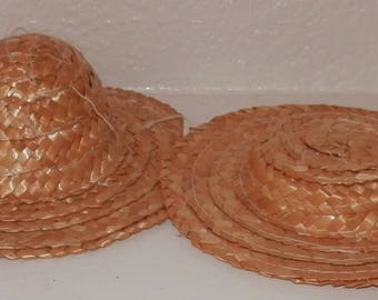New Set of 2 Straw Hats Accessory for Dolls Bears Crafts