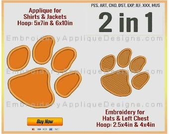 Clemson Tigers - NCAA Sports Team Logo - 4 sizes - Filled Embroidery for 2.5x4in, 4x4in hoops & Applique for 5x7in and 6x10in hoops