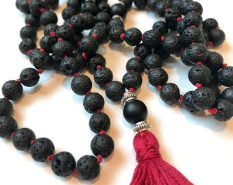 The Agnistambhasana Mala- Ignite The Fire Within. Matte Onyx and Lava Stone Japa Mala Necklace Beads. 108, Hand Knotted
