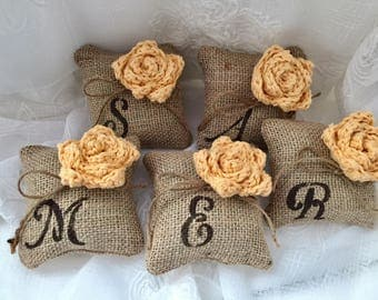 Monogramed Mini Pillow, *Yellow* Burlap mini pillow, Set of 3,4,5  Burlap flower pillow, Bridesmaids' gift,Bridal Gift,Wedding Decor, Favor