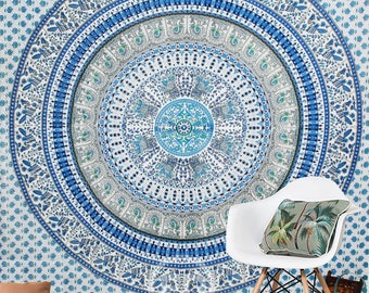 Boho Queen Size Mandala Tapestry - Blue Paradise