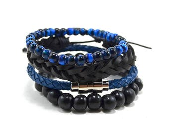 4 Pack Leather/Wood in Blue and Black Bracelet Set