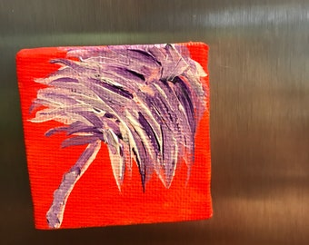Hand painted fridge magnet/ acrylic canvas refridgerator magnet/ painted magnet/ clemson magnet