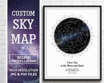 Night Sky Custom Print, Night Sky Map Custom, Star Map Custom Print, Star Map By Date, Sky Map Custom, Constellation Print, New Baby Gift