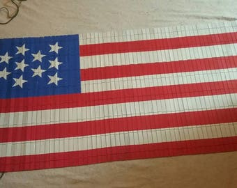 Upcycled,  hand painted, wooden window valance, usa, American flag, window covering, mini blinds.
