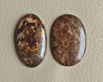 Natural Brown Jade Stone Size 35x25x5, 36x21x6 MM Approx, Good Quality Brown Jade Cabochon, Brown Jade Weight 76 Carat. Jewellery Stones.