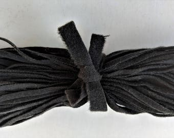 "Dorr Mill Wool Strips Antique Black Color Number 44, 100 Strips 18"" Long for Rug Hooking from Fine Quality Wool Hand Cut on Number 6 Blade"