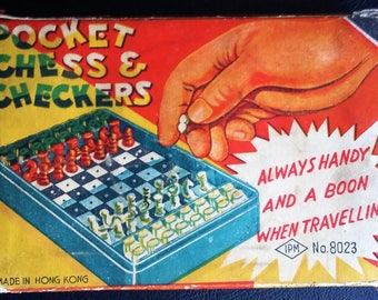 Vintage pocket chess and checkers complete.