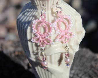 Tatted Earrings with Swarovski Crystal