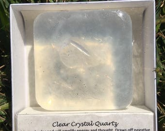 Vanilla Soap with a Clear Crystal Quartz