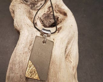 Leather necklace, gold leaf pendant concrete and finish