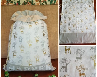 Personalised Large Handmade Santa Sack with Frill - Filigree Reindeer with Grey Frill/Base