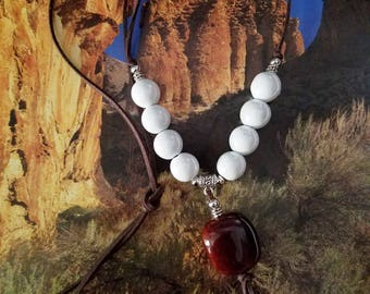 White Ceramic beads With Brown Pendant