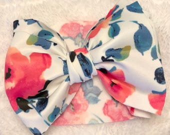 Coral Floral Bow
